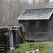 Old Grist Mill With Snow Poster