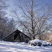 Old Hay Barn In Deep Snow Poster