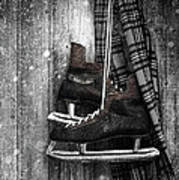 Old Ice Skates Hanging On Barn Wall Poster