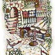 Old Jerusalem Courtyard Modern Artwork In Red White Green And Blue With Rooftops Fences Flowers Poster