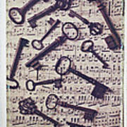 Old Keys On Sheet Music Poster