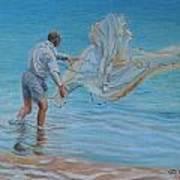 Old Man Casting Net Poster