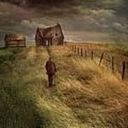 Old Man Walking Up A Path Of Tall Grass With Abandoned House In  Poster