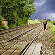 Old Man Walks Along Train Tracks Poster