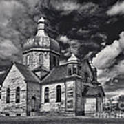 Old Prairie Church And Storm Front Poster