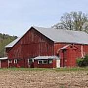 Old Red Barn With Short Silo Poster