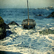 Old Sailing Vessel Near The Rocky Shore Poster