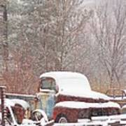 Old Truck Covered In Snow Poster