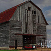 Old Wagon Older Barn Poster