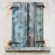 Old Window With Blue Shutte Poster