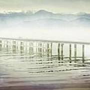 Old Wooden Bridge Into A Mountain Lake On A Foggy Morning Poster