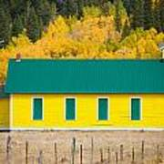 Old Yellow School House With Autumn Colors Poster