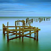 Ols Swanage Pier Poster by Mark Leader