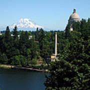 Olympia Wa Capitol And Mt Rainier Poster
