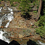 On The Rocks Glen Alpine Creek And Falls Poster