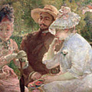 On The Terrace At Sevres Poster by Marie Bracquemond
