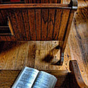 Open Book On Church Pew Poster