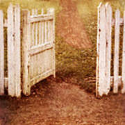 Open Gate To Cottage Poster