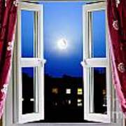 Open Window At Night Poster