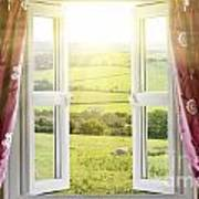 Open Window With Countryside View Poster