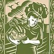 Organic Farmer With Basket Harvest Crops Retro Poster by Aloysius Patrimonio