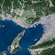 Osaka, Satellite Image Poster by Planetobserver