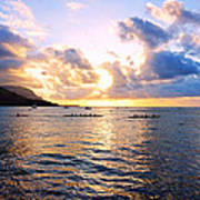 Outrigger Canoes Hanalei Bay Kauai Poster