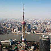 Overhead View Of Oriental Pearl Tower In Shanghai Poster