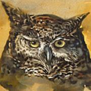 Owl Watercolor Poster