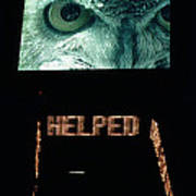 Owl Eye Zipper Sign Times Square Poster