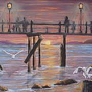 Pacific Ocean Moonlight Poster by Janna Columbus