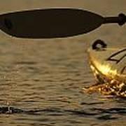 Paddling A Kayak Over Walden Pond Poster