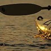 Paddling A Kayak Over Walden Pond Poster by Tim Laman