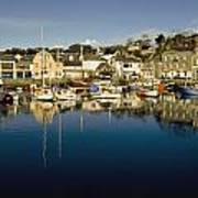 Padstow Marina Reflecting In Water Poster