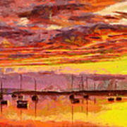 Painting With Boats At Sunset Tnm Poster