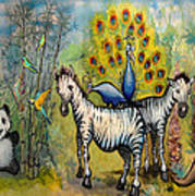 Panda Peacock Kangaroo Zebra Poster