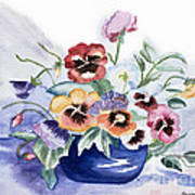 Pansies In Blue Pot Poster