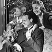 Parents With Daughter (6-7) In Living Room, (b&w) Poster by George Marks