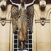 Paris Courtyard Musee Carnavalet Angel Statue - Victory Allegorical Angel Statue Poster