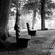 Park Bench In Black And White Poster