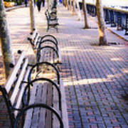 Park Benches In Hoboken Poster by George Oze