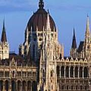 Parliament Buildings On River Danube Poster