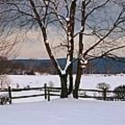 Pastoral View Of A Farm Covered In Snow Poster
