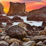 Patrick's Point Sunset Seastacks Poster