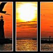 Peaceful Sunset Triptych Series Poster
