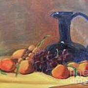 Peaches And Blue Pitcher Poster