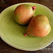 Pears On Heart Plate Poster