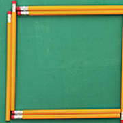 Pencils Framing An Area Of Chalkboard Poster