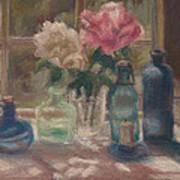Peonies And Bottles Poster by Rita Bentley