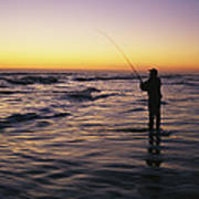 People Are Surf Fishing For Red Drum Poster